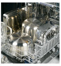 dishes loaded into bottom dishwasher rack