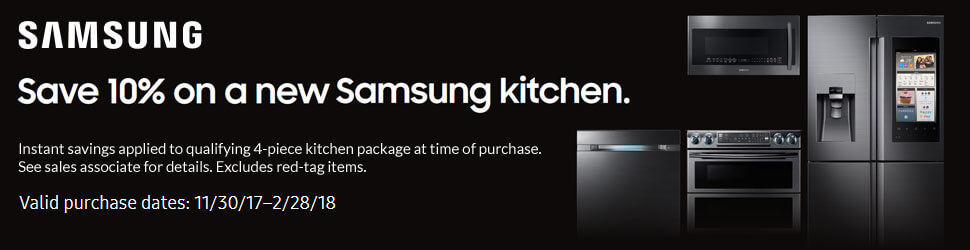 Save 10% on Qualifying 4-Piece Kitchen Packages now thru February 28, 2018