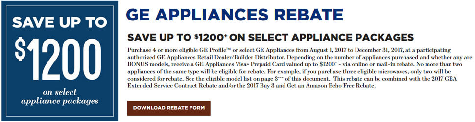 GE Save Up to $1200 on Select Appliance Packages