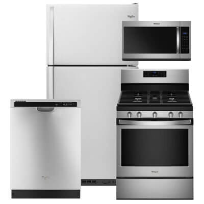 Whirlpool Kitchen Packages 4 PC PKG (WRT318FZDM-G): 18.2 Cu. Ft. Refrigerator, Gas Range, Microwave & Dishwasher  For Sale At Warners' Stellian