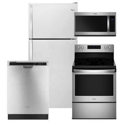 Whirlpool Kitchen Packages 4 PC PKG (WRT318FZDM-E): 18.2 Cu. Ft. Refrigerator, Electric Range, Microwave & Dishwasher For Sale At Warners' Stellian