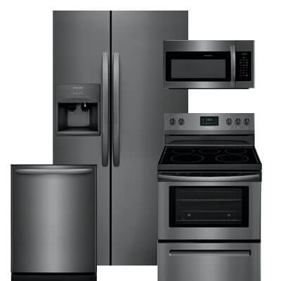 frigidaire 4 pc pkg  276188 e   25 6 cu  ft  side by side refrigerator electric freestanding range microwave  u0026 dishwasher kitchen appliance packages 4 piece appliance sets   warners u0027 stellian  rh   warnersstellian com