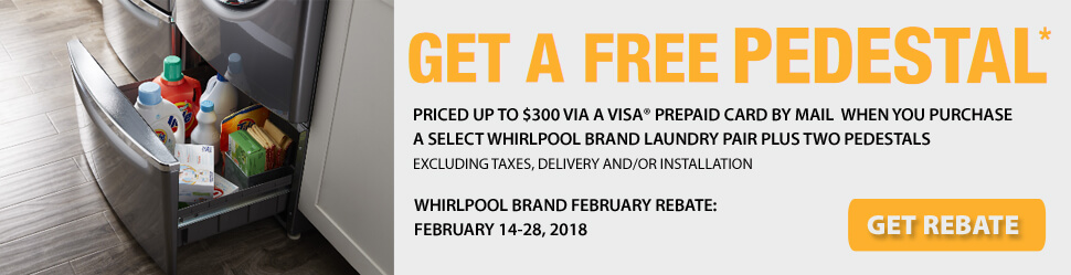 Whirlpool Get A Free Pedestal Rebate Offer