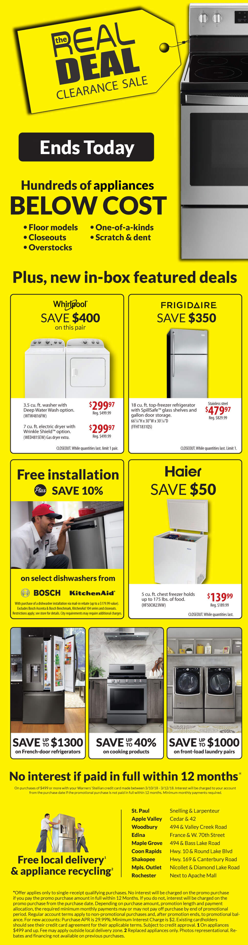 Real Deal Appliance Sale - Last Day