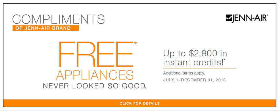 Jenn-Air Free Appliances Offer 2018