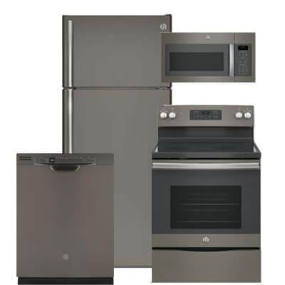 Ge 4 Pc Pkg 118091 E 17 5 Cu Ft Refrigerator Electric Range Microwave Dishwasher