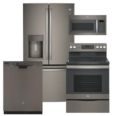 GE Kitchen Packages Slate 4 PC PKG (GFE28GMKES-E): 27.8 Cu. Ft. Refrigerator, Electric Range, Microwave & Dishwasher For Sale At Warners' Stellian