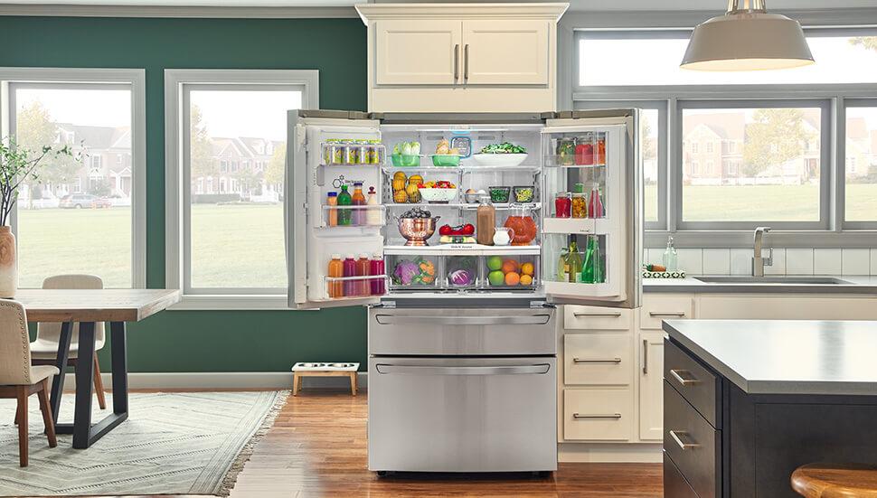 Open LG French Door Refrigerator
