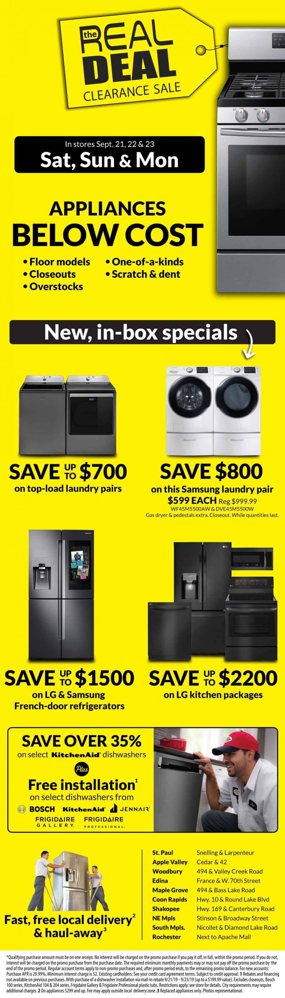 Real Deal Appliance Sale