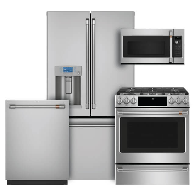 Café Kitchen Packages 4 PC PKG (CYE22TP2MS1-GAS): 22.2 Cu. Ft. Counter-Depth French-Door Refrigerator, Slide-in Gas Range, Convection Microwave & Dishwasher For Sale At Warners' Stellian