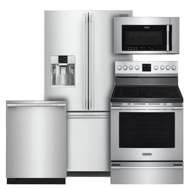 Frigidaire Professional Kitchen Packages 4 PC PKG (FPBC2278UF-E): 21.6 cu. ft. Refrigerator, Electric Range, Microwave & Dishwasher For Sale At Warners' Stellian