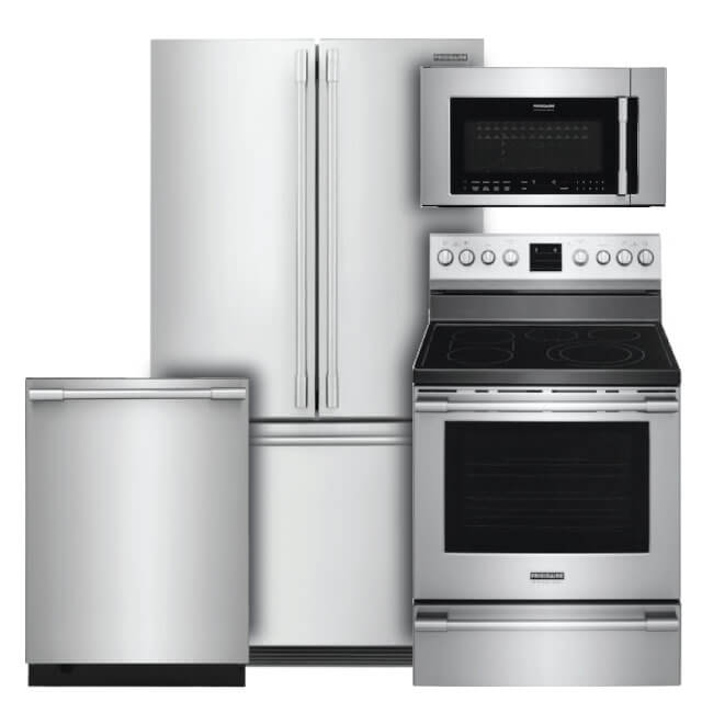 Frigidaire Professional Kitchen Packages 4 PC PKG (FPBG2278UF-E): 22.3 cu. ft. Refrigerator, Electric Range, Microwave & Dishwasher For Sale At Warners' Stellian