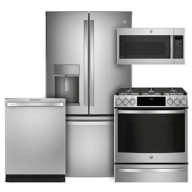 GE Profile Kitchen Packages 4 PC PKG (PYE22KYNFS-G): 22.1 Cu. Ft. Counter-Depth French-Door Refrigerator, Gas Range, Microwave and Dishwasher For Sale At Warners' Stellian