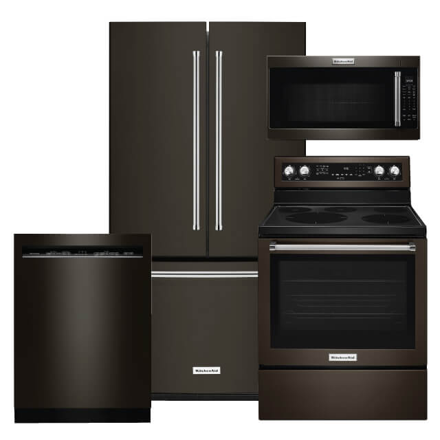 KitchenAid Kitchen Packages 4 PC PKG KRFC300EBS-E: 20 Cu. Ft. Refrigerator, Electric Range, Microwave & Dishwasher For Sale At Warners' Stellian