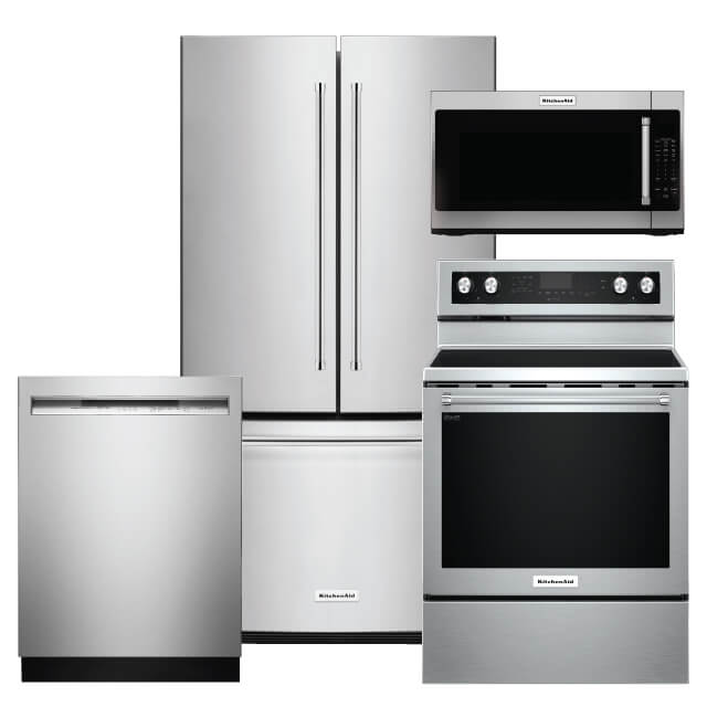 KitchenAid Kitchen Packages 4 PC PKG KRFC300ESS-E:20 Cu. Ft. Refrigerator, Electric Range, Microwave & Dishwasher. For Sale At Warners' Stellian