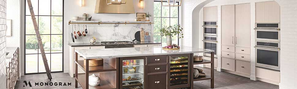 kitchen with Monogram appliances