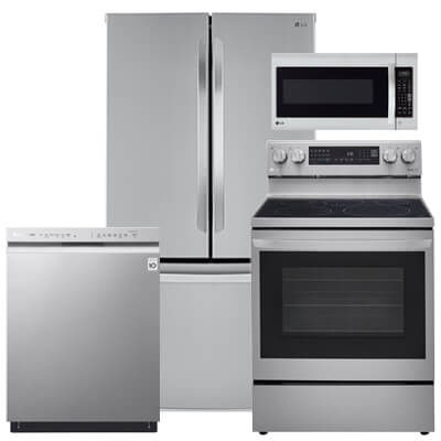LG Kitchen Packages 4 PC PKG (LFCC22426S-E): 23 Cu. Ft. Refrigerator, Electric Range, Microwave & Dishwasher For Sale At Warners' Stellian