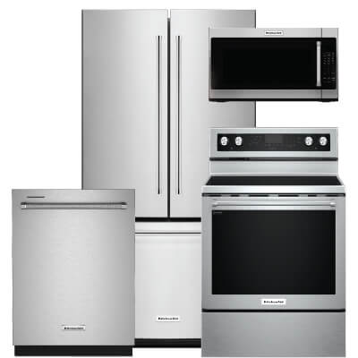 Kitchenaid 4 Pc Pkg Krfc300ess E 20 Cu Ft Refrigerator Electric Range Microwave Dishwasher Warners Stellian