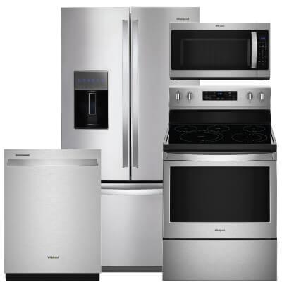 Whirlpool 4 Pc Pkg Wrf757sdhz E 27 Cu Ft Refrigerator Electric Range Microwave Dishwasher Warners Stellian